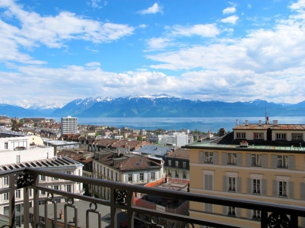 Lake Geneva from my balcony at Lausanne Palace