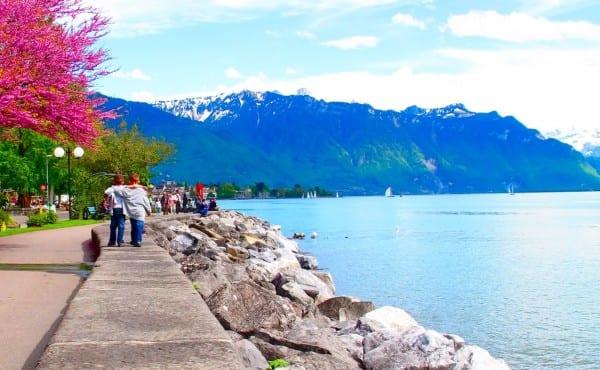 Taking a walk on the lake's edge