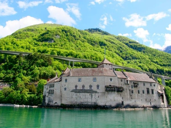 Cruising past historic Chateau de Chillon, built around 1100