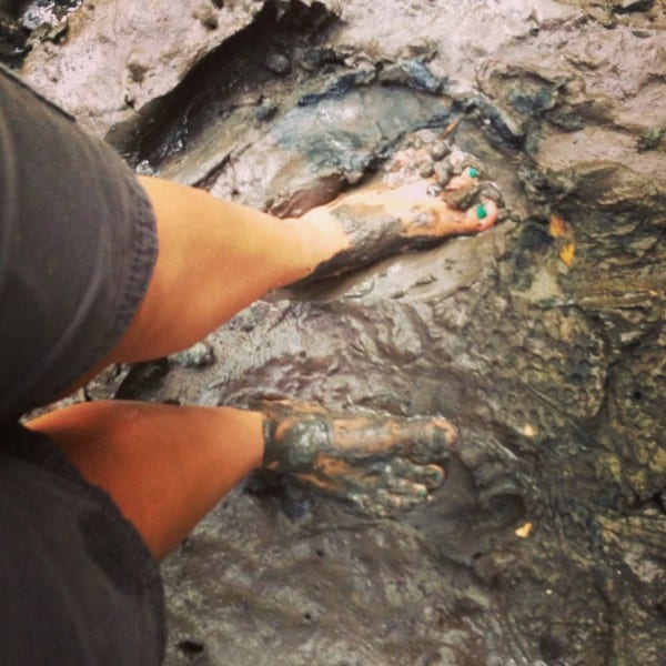 The only way to explore the mangrove forest - shoeless!