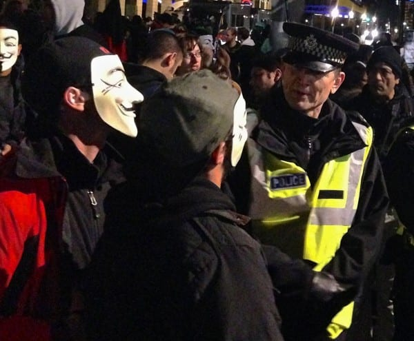 Protesters chat politics with police in Parliament Square