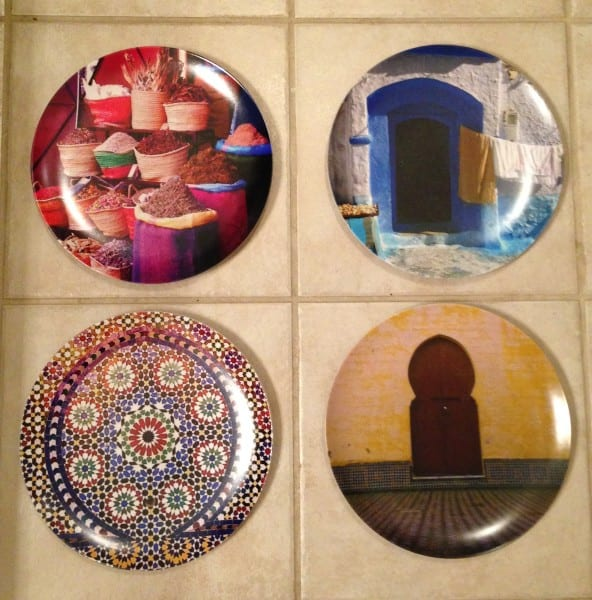Project 2: I picked four more photos from Morocco and made them into plates for the kitchen. They're safe to eat off, but they're so pretty I might display them instead!