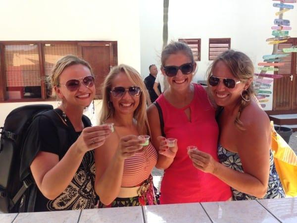 Sampling Cadushi - cactus liqueur - in Bonaire